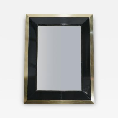 Jean Claude Mahey J C Mahey wall Mirror in black Lacquer and brass 1970