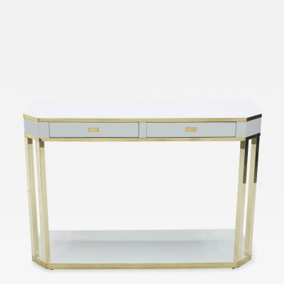 Jean Claude Mahey J C Mahey white lacquer and brass console 1970s