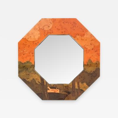 Jean Claude Mahey Jean Claude Mahey Paris Octagonal Marquetry Mirror