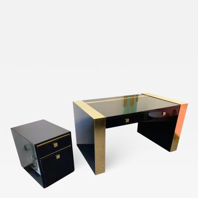 Jean Claude Mahey Lacquered and Brass Desk side box by Jean Claude Mahey France 1970s