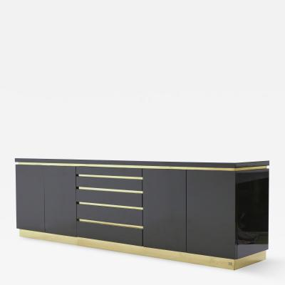 Jean Claude Mahey Large Signed J C Mahey brass black lacquered sideboard 1970s