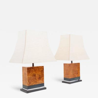 Jean Claude Mahey Pair of Burl Lamps by Jean Claude Mahey