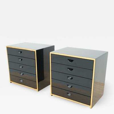 Jean Claude Mahey Pair of Jewelry Cabinets in Black Lacquer attr to Jean Claude Mahey