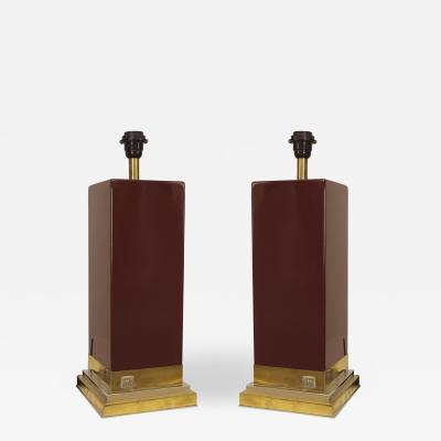 Jean Claude Mahey Pair of Post War Design Dark Maroon Lacquer Lamps