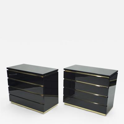 Jean Claude Mahey Pair of small black lacquer chest of drawers by J C Mahey 1970s