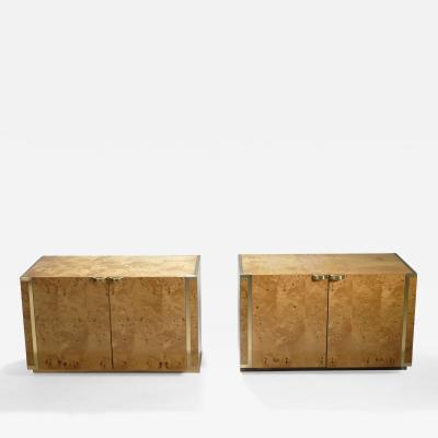 Jean Claude Mahey Pair of small burl and brass cabinets by J C Mahey 1970s