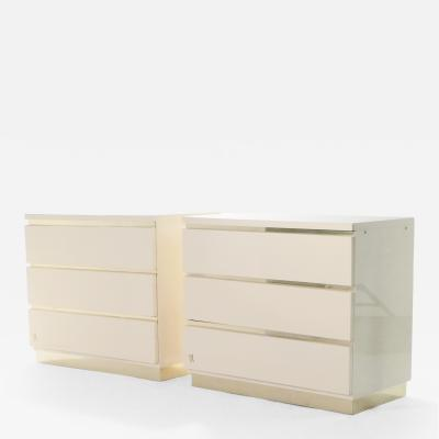 Jean Claude Mahey Pair of small lacquer chest of drawers by J C Mahey 1970s