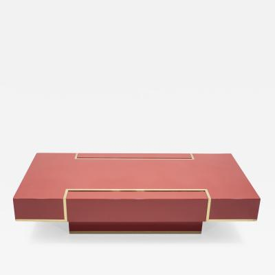 Jean Claude Mahey Rare J C Mahey red lacquer and brass coffee table 1970s