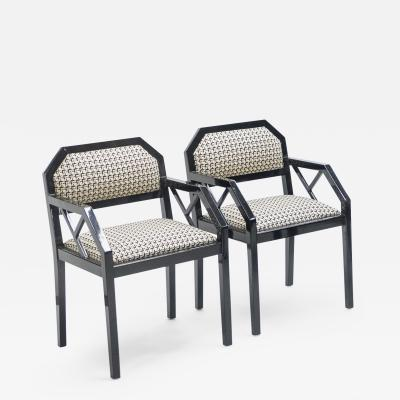Jean Claude Mahey Rare pair of black lacquer chairs J C Mahey 1970s