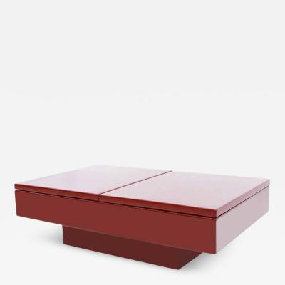 Jean Claude Mahey Red Lacquered Sliding Bar Coffee Table
