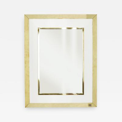 Jean Claude Mahey Signed J C Mahey wall Mirror in white Lacquer and brass 1970