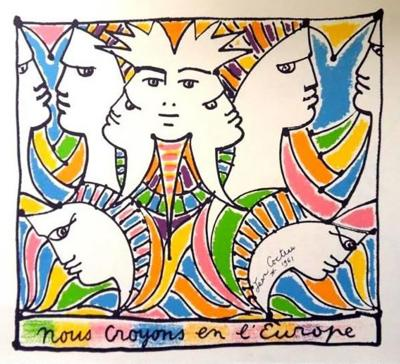 Jean Cocteau Jean Cocteau Europe and the World Original Lithograph