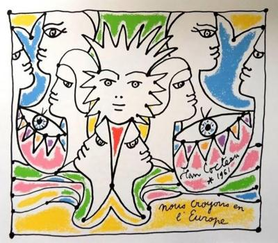 Jean Cocteau Jean Cocteau Europes Colors Original Lithograph