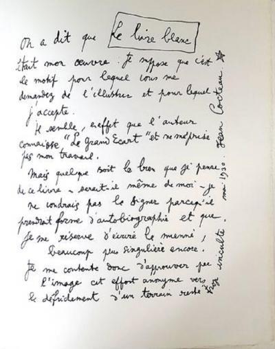 Jean Cocteau Jean Cocteau Explanations Original Lithograph