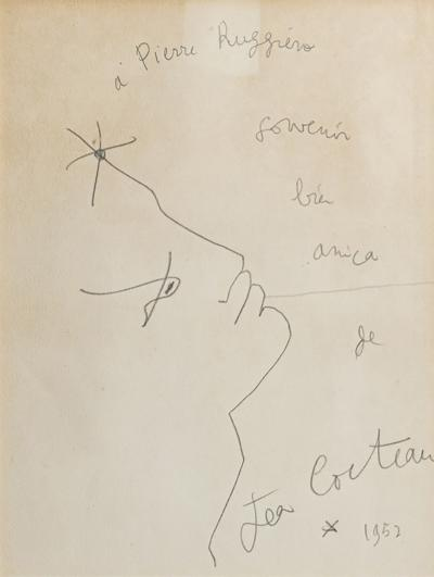 Jean Cocteau Jean Cocteau Original Drawing Signed circa 1950 France