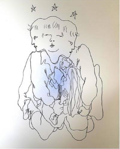 Jean Cocteau Jean Cocteau Three in One Original Handcolored Lithograph