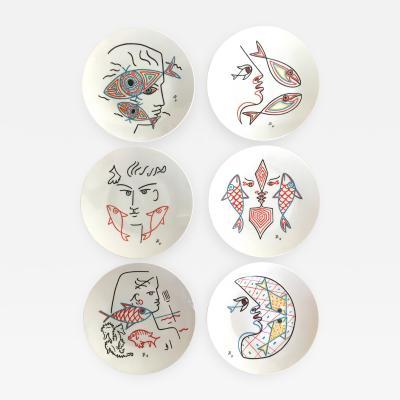 Jean Cocteau Set of 6 Jean Cocteau Plates