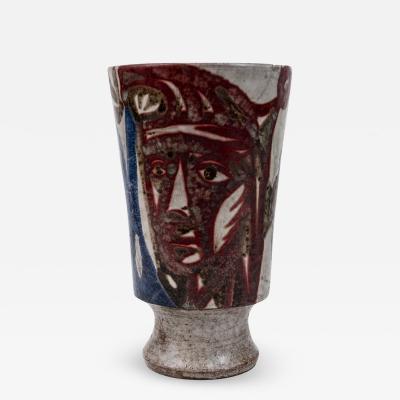 Jean Derval Hand thrown stoneware vase by Jean Derval