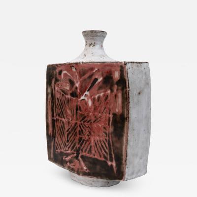 Jean Derval Large mid century slab built vase by Jean Derval