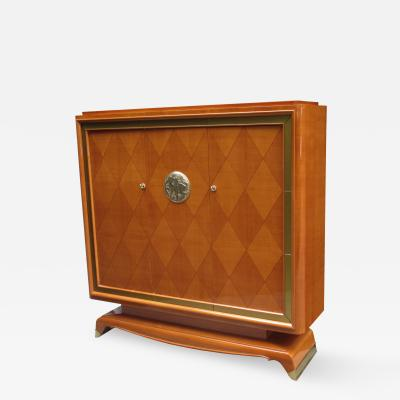Jean Desnos Art Deco Three Door Cabinet Designed by Jean Desnos