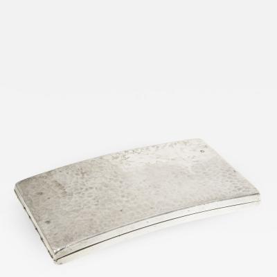 Jean Despres Cigarette box in silver plated metal by Jean Despres circa 1930