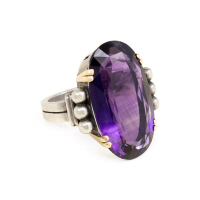 Jean Despres Jean Despr s Art Deco Amethyst Gold and Silver Ring