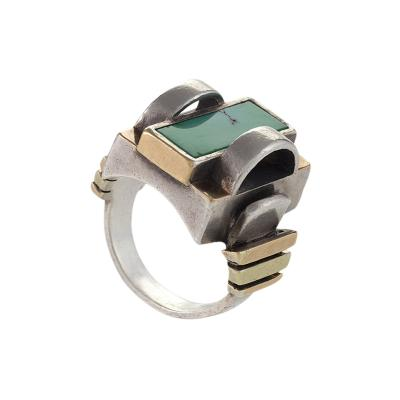 Jean Despres Jean Despr s Art Deco Turquoise Gold and Silver Ring