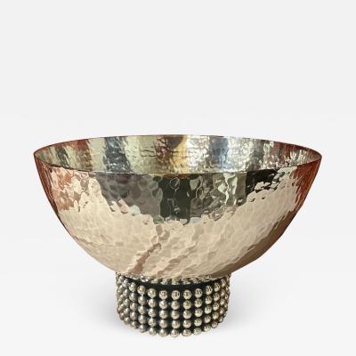 Jean Despres Jean Despres French Silver Plate Metal Bowl Unique Design
