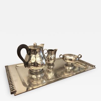 Jean Despres Jean Despres Stamped Superb Big Tea Set in Hammered Silvered Tin