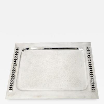 Jean Despres Silver plated platter by Jean Despres circa 1950