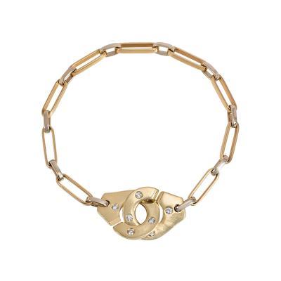 Jean Dinh Van Dinh Van France Estate Two Color Gold and Diamond Menottes Bracelet