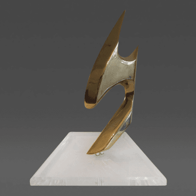 Jean Duval Jean Duval Abstract Brass Mounted Sculpture