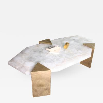 Jean Eves Lanvin Unique Coffee Table in Brass and Rock Crystal