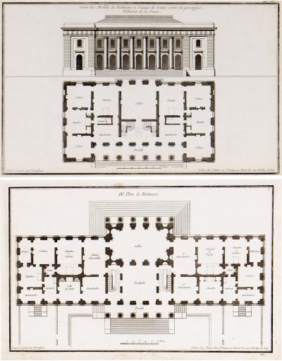 Jean Fran ois de Neufforge Pair of Original Architecture Etchings by Jean Fran ois de Neufforge