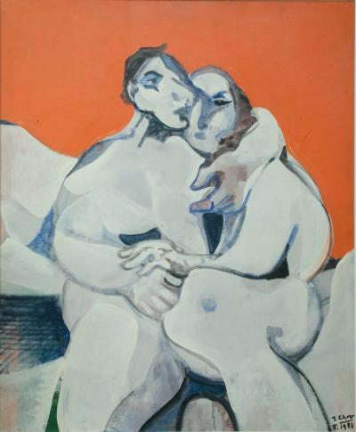 Jean Georges Chape The Lovers Oil on Canvas by Jean Georges Chape