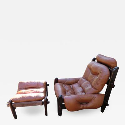 Jean Gillon Fabulous Brazilian Rosewood Jean Gillon Lounge Chair and Ottoman for Probel