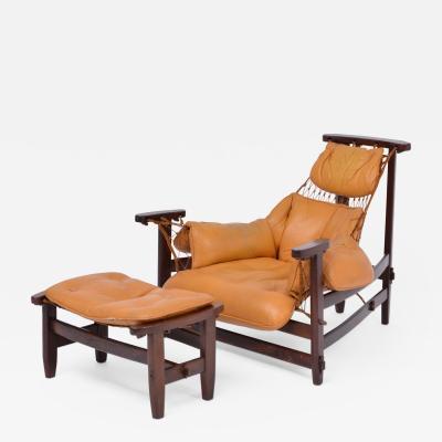 Jean Gillon Iconic Brazilian Jangada Lounge Chair with Ottoman by Jean Gillon