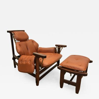 Jean Gillon Jean Gillon 1960s Gran Captain Leather and Mahogany Armchair and Ottoman