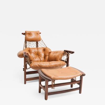Jean Gillon Mid Century Modern Jangada Armchair with Ottoman by Jean Gillon Brazil