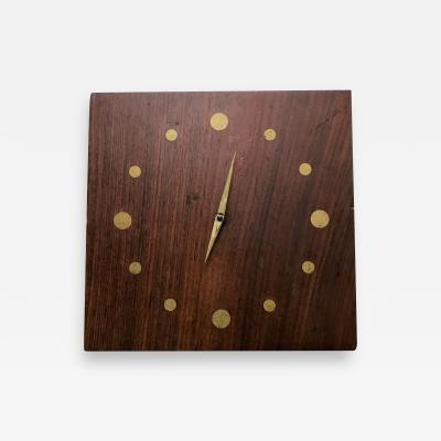 Jean Gillon Solid Rosewood and Brass Wall Clock Mid Century Modern Period