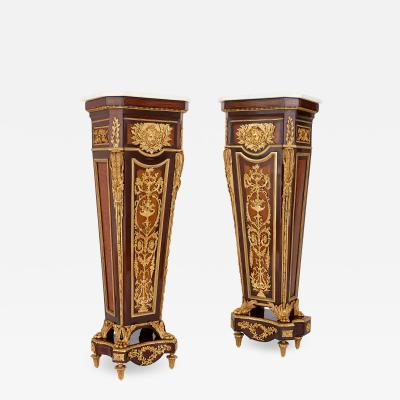 Jean Henri Riesener Near pair of gilt bronze and marble mounted mahogany pedestals after Riesener