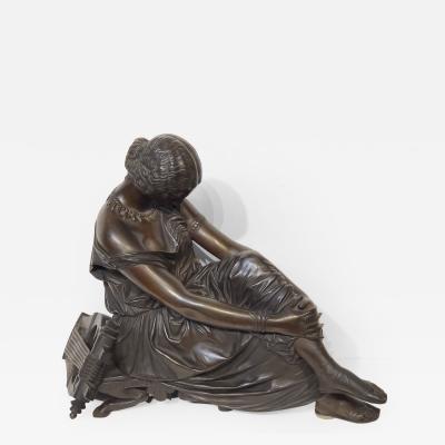 Jean Jacques Pradier Antique Bronze Sculpture of the Poet Sappho