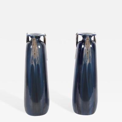 Jean Leclerc Pair of French Art Nouveau Period Ceramic Vases by Jean Leclerc circa 1900
