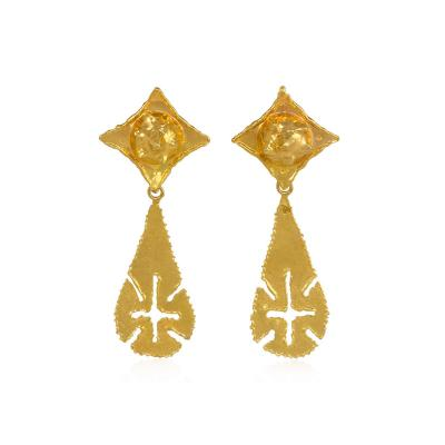 Jean Mahie Jean Mahie 1970s Gold Day to Night Earrings with Teardrop Shaped Pendants