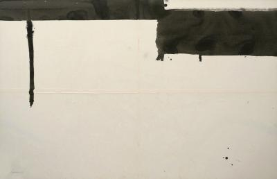 Jean Marc Louis Large Abstract Black and White Watercolor Painting on Board by Jean Marc Louis