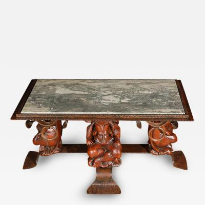 Jean Maurice Rothschild French Coffee Table With Marble Top attr Jean Maurice Rothschild