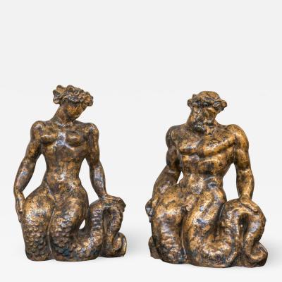 Jean Mayodon Sirene et Triton Pair of Ceramic Sculptures