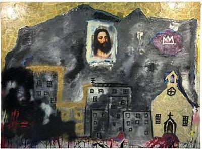 Jean Michel Basquiat Modern Painting in the Manner of Jean Michel Basquiat circa 1980