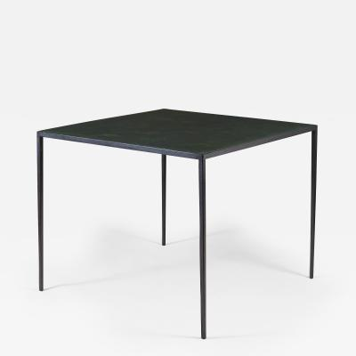 Jean Michel Frank 1938 iron and leather bridge games table by Jean Michel Frank