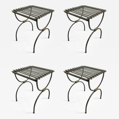 Jean Michel Frank 2 Pairs French Modern Neoclassical Iron Bench Luggage Racks Jean Michel Frank